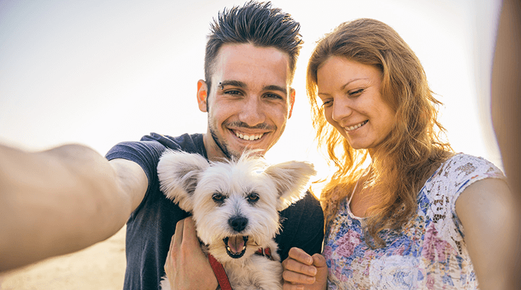 Couple and dog picture