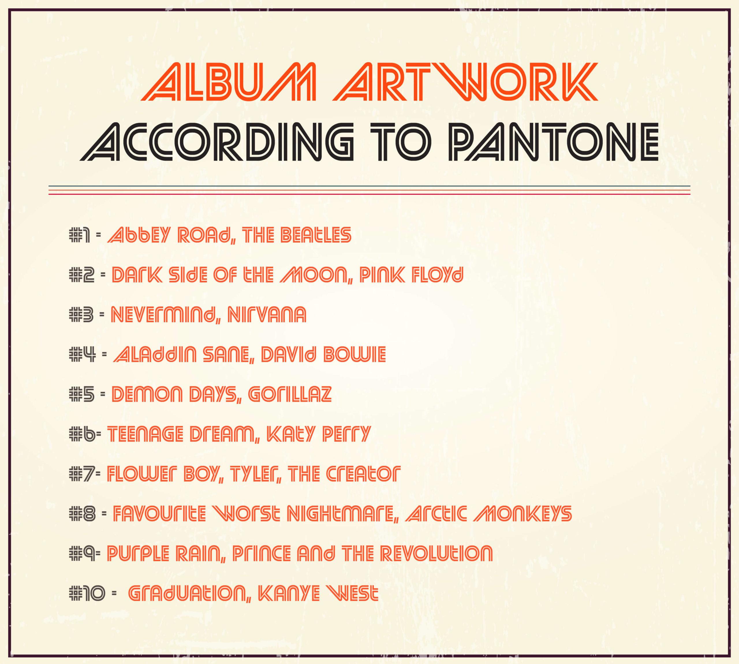 Album Artwork As Pantone: Famous Album Covers Without Text Quiz_Answers